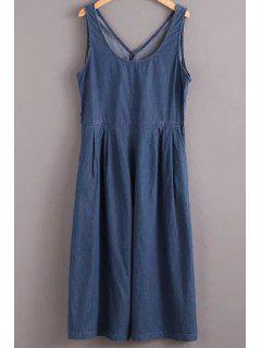 Solid Color Jewel Neck Sleeveless Denim Jumpsuit - Blue L
