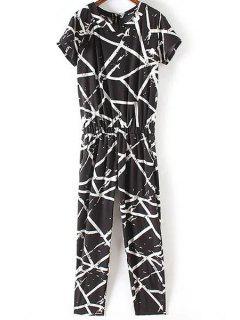 Loose Striped Round Neck Short Sleeve Jumpsuit - Black L