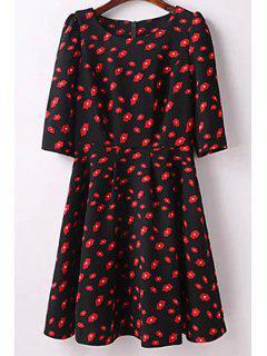 Lips Print All-Fit Round Neck Half Sleeve Dress - Black L