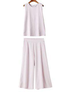 A-Line Tank Top + Wide Leg Crop Pants Twinset - Pink Xl