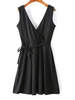Low Back Black Cocktail Dress - Black Xl