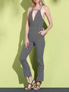Geometric Pattern Spaghetti Straps Jumpsuit - White And Black L