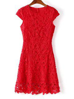 Crochet Flower Red Lace Prom Dress - Red M