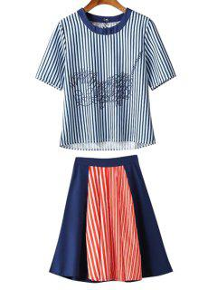 Striped Kitten Tee + Colour Block Midi Skirt Twinset - Xl