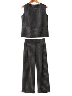 Vertical Stripes Tank Top And Wide Leg Pants Suit - Black Xl