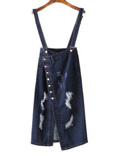 Ripped Single-Breasted Suspender Skirt - Blue L