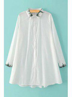 Embroidered Oversized White Shirt - White L