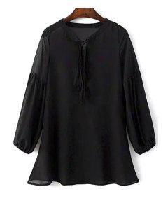 Durchsichtiges Schwarzes Kleid Aus Chiffon - Schwarz L