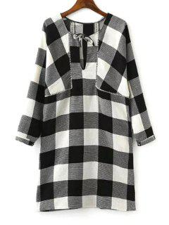 Long Sleeve Plaid Loose Dress - White And Black L