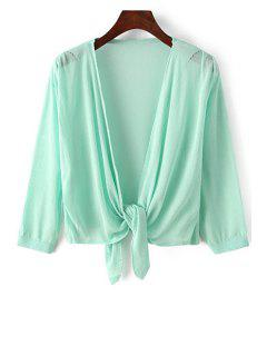 Knotted 3/4 Sleeve Solid Color Cardigan - Light Green