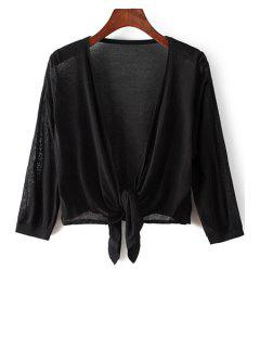 Knotted 3/4 Sleeve Solid Color Cardigan - Black