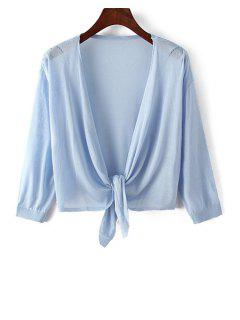 Knotted 3/4 Sleeve Solid Color Cardigan - Light Blue