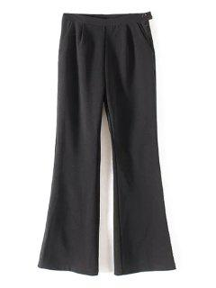 Pocket Design Flare Pants - Black L