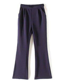 Pocket Design Flare Pants - Blue L