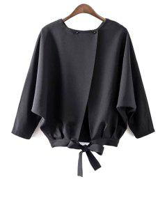 Batwing Sleeve Tie Back Blouse - Black L