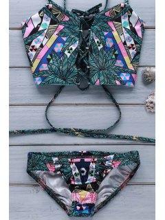 Conjunto De Bikini Totem Print Cami - Verde Oscuro L
