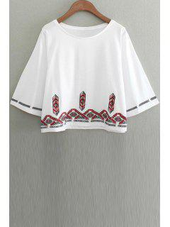 Embroidery Round Collar 3/4 Sleeve T-Shirt - White L