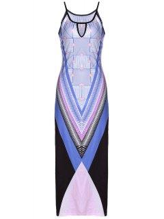 Bohemian Print Cami Slit Maxi Dress - Purple Xl