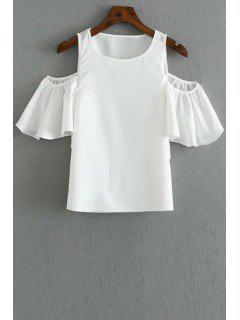 Color Sólido Cuello Redondo Con Hombros De La Camiseta - Blanco L
