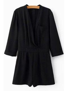 Pocket Design Cross-Over Chiffon Playsuit - Black L