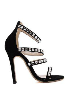 Black Stiletto Heel Rhinestone Sandals - Black 39