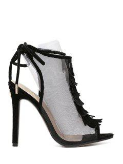 Peep Toe Gauze Fringe Sandals - Black 36