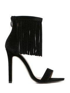 Solid Color Stiletto Heel Fringe Sandals - Black 38