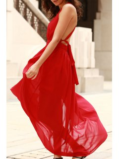 Plunging V Neck Backless Prom Dress - Red L