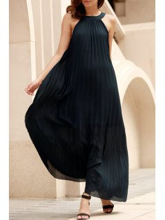 Deep Blue Pleated Sleeveless Maxi Dress - Deep Blue S