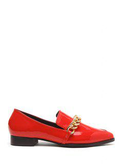 Chains Patent Leather Pointed Toe Flat Shoes - Red 39