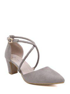 Pointed Toe Cross-Strap Chunky Heel Pumps - Gray 39