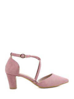 Pointed Toe Cross-Strap Chunky Heel Pumps - Pink 39
