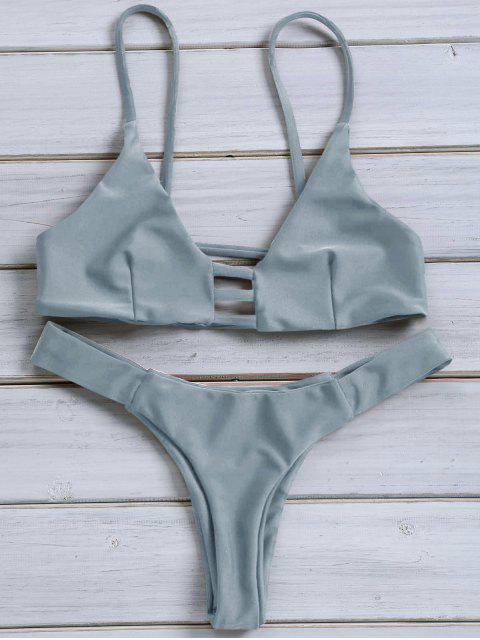 Einfarbig Spaghetti Strap Lace Up Bikini Set - Blaugrau L Mobile