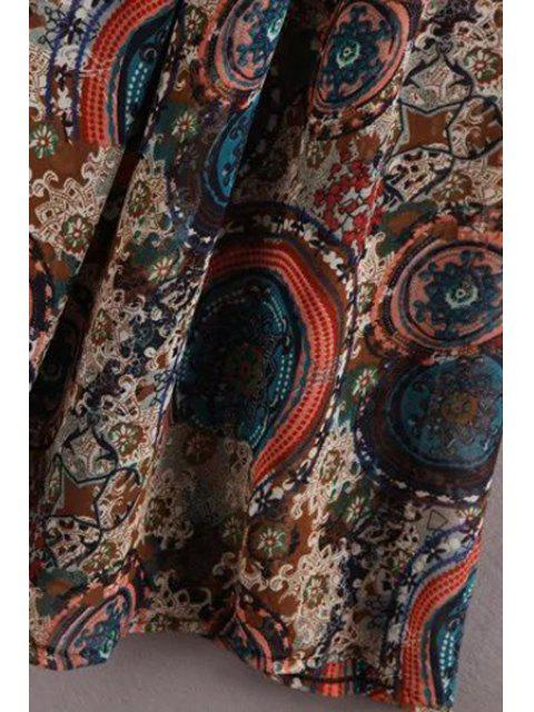 hot Vintage Printed Jewel Neck Sleeveless Dress - KHAKI M Mobile