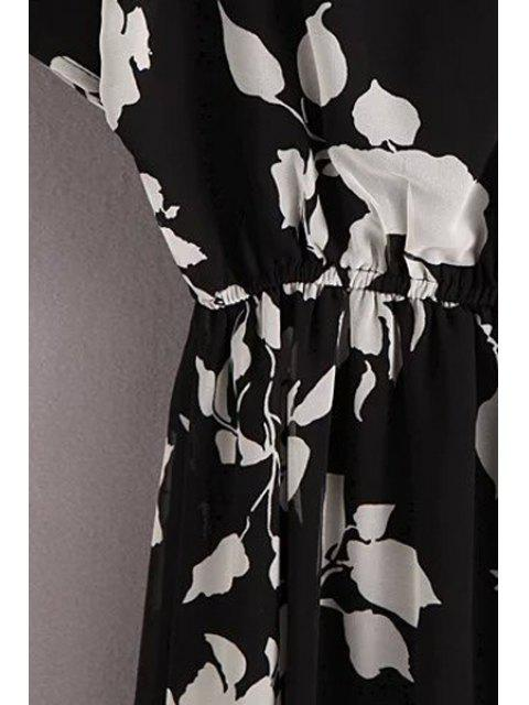 women's Ink Print Round Neck Short Sleeve Cold Shoulder Dress - BLACK M Mobile