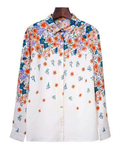 fashion Tiny Flower Print Shirt Collar Long Sleeve Shirt - WHITE S Mobile