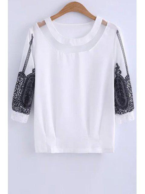 Encaje empalmado cuello redondo blusa de la manga 3/4 - Blanco M Mobile