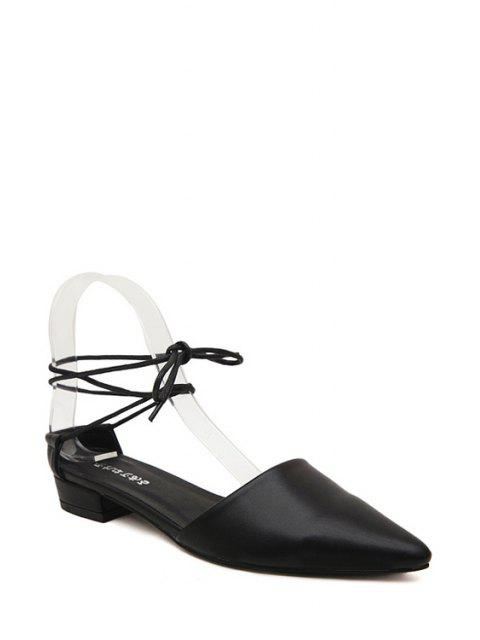 fancy Lace-Up Pointed Toe Flat Shoes -   Mobile