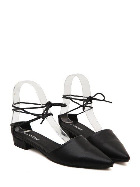 chic Lace-Up Pointed Toe Flat Shoes -   Mobile