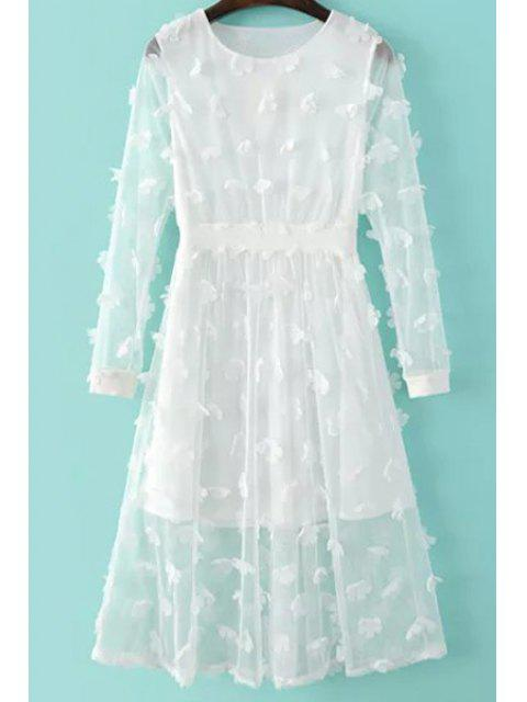 women Solid Color See-Through Round Neck Long Sleeve Dress - WHITE M Mobile