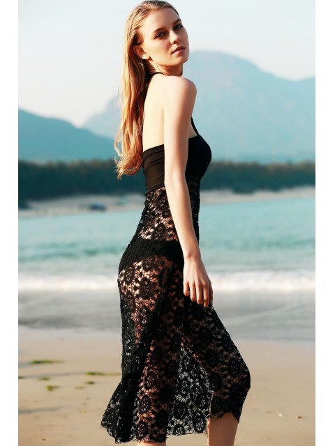 online Solid Color Lace Cover Up Skirt - BLACK M Mobile
