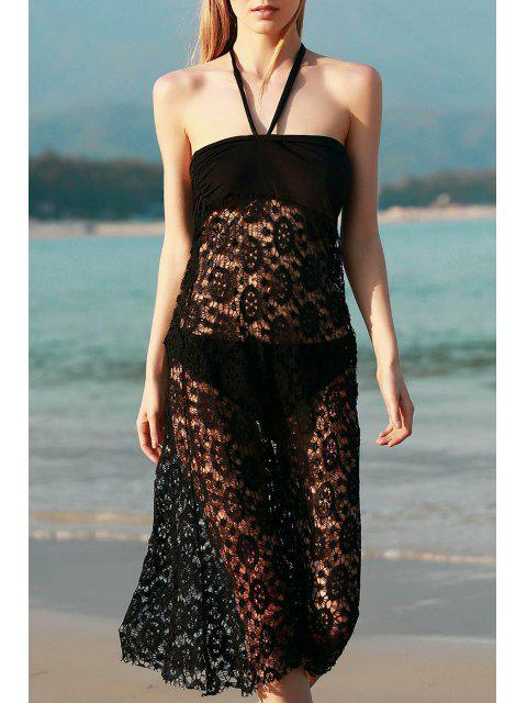 best Solid Color Lace Cover Up Skirt - BLACK S Mobile