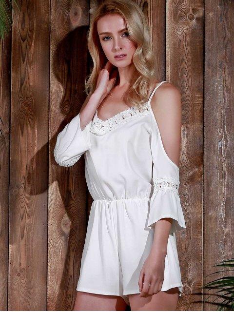 buy Cold Shoulder Cami Beach Romper - WHITE L Mobile