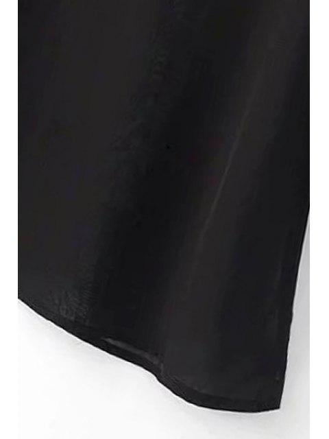 trendy See-Through Black Chiffon Dress - BLACK L Mobile