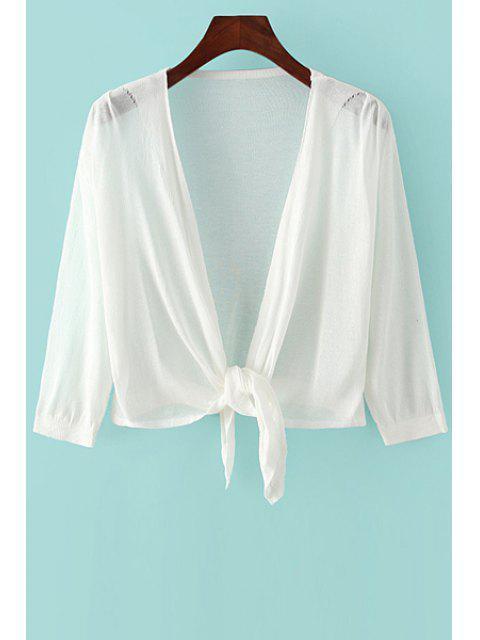 Noué à manches 3/4 Solid Color Cardigan - Blanc Taille Unique(S'adap Mobile