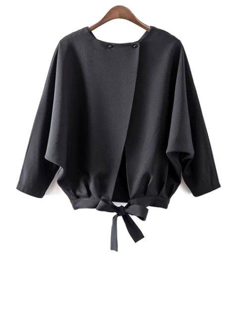 Flügel-Hülsen-Bindung zurück Bluse - Schwarz M Mobile