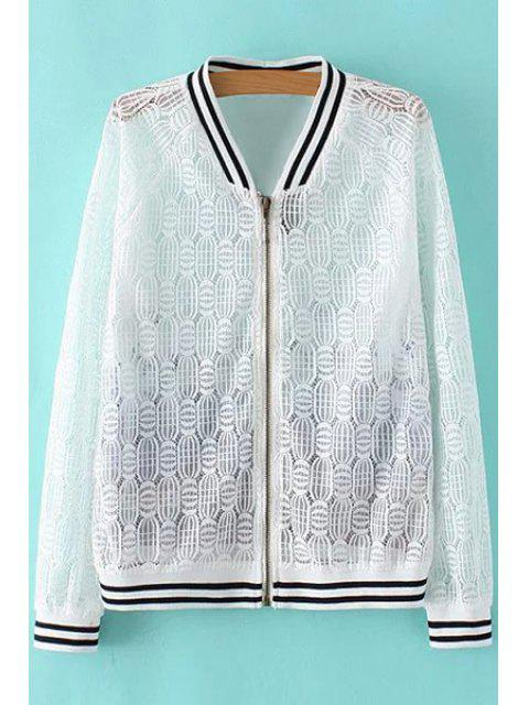 best Lace Spliced Stand Collar Long Sleeve Printed Jacket - WHITE S Mobile