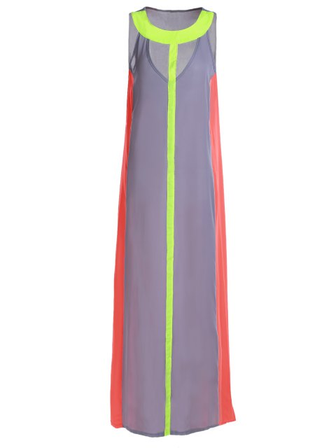 sale Hollow Color Block Sleeveless Maxi Dress - GRAY M Mobile