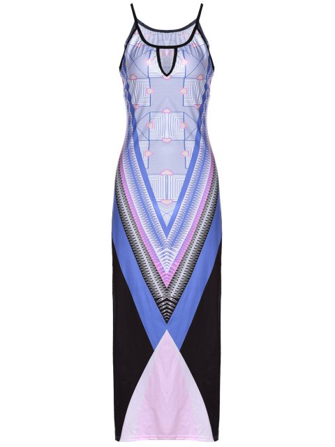 fashion Bohemian Print Cami Slit Maxi Dress - PURPLE S Mobile