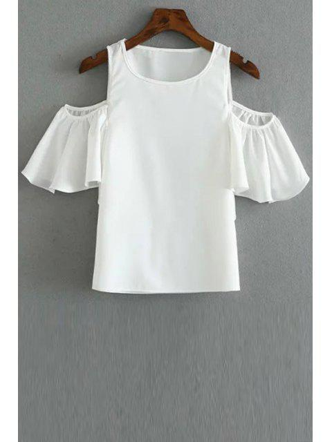 hot Solid Color Round Collar Cold Shoulder T-Shirt - WHITE M Mobile